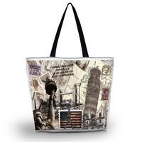 Stamps Soft Foldable Tote Women's Shopping Bag Shoulder Bag Lady Handbag Pouch