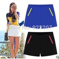 2014 Summer New Fashion Women Mid Waist Straight Denim Short Pants,Ladies Casual Slim Chiffon Shorts Free Shipping