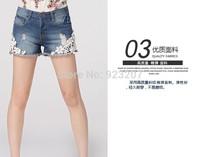 2014 Women fashion High Waist Shorts Lady Vintage Retro Lace Flower Flange Hole Wash Jeans Student Denim Pant Trousers Plus Size