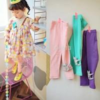 Wholesale children leggings,korean 100% cotton ninth pants girls clothings,catoon cat embroidery cute kids candy color leggings