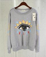 2014 spring autumn European Style fashion long-sleeve cotton big eyes print sweatshirt loose pullovers women grey white red
