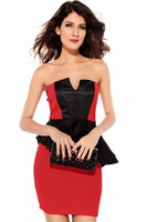 2014 Sexy Lady Ruffled Waist Mini Dress Midi Bodycon Sleeveless Strapless Patchwork Polyester Seven Seas Sale