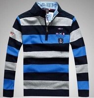 2014 Autumn Men's Long-Sleeve T-Shirts Casual Striped Brand Business Embroidery Adventure Men Slim Fit Jumpers Tshirt 4XL