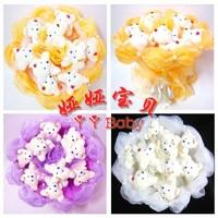 9 pieces plush toy doll bear romantic ribbon beaded flower bouquets wedding bridal bouquets