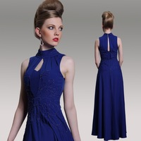 2014 New High Neck Open Back Royal Blue Floor Length Evening Dresses Women Elegant Beaded Formal Celebrity Prom Dress Gown 31042