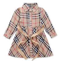 2014 New Arrive Girls Spring And Autumn Dress Kids Plaid Dress Fit 1-5Yrs Novelty Fashion Clothes 5 Sets/Lot Free Shipping