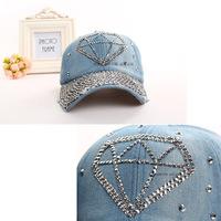 2014 New Arrival Diamond Cap Rhinestone Baseball Caps Free Shipping Women Hip Hop Cotton Zircon Hats Snapback Gorras
