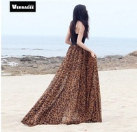 2014 Women summer chiffon skirt leopard print beach chiffon long skirt S-XXL