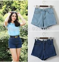 2014 Brand Name Women Vintage High Waist American Apparel Wash Shorts,Ladies AA Cuff Denim Short Jeans Pants Free Shipping
