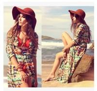 2014 best selling summer dress vestidos beach dress female thin breathable elegant print chiffon long-sleeve cardigan
