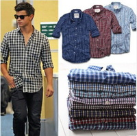 2014 Brand New Fashion Men Cotton Long Sleeve Famous Brand Shirts Mam Casual Plaid Shirt Mens Clothing 8 Colors