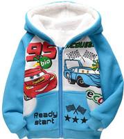 2014 children hoodies autumn and winter fashion boys thick fleece long sleeve sweatshirt kids cartoon zipper outerwear coat