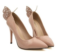 Beautiful new Elegant stereo butterfly dream Pointed high-heeled shoes black white 995-8 beige big 35 to 40 yards