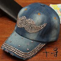 2014 New Arrival Diamond Cap Moustache Rhinestone Baseball Caps Free Shipping Women Hip Hop Cotton Zircon Hats Snapback Gorras