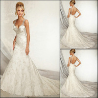 JM.Bridals WD004 New arrival Mermaid Beaded Court train Lace 2014 wedding dresses brides