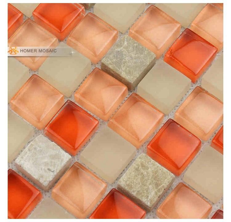 Orange verre mixte gris marbre salle de bains carrelage for Carreaux de verre salle de bain