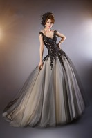 JM.Bridals WD005 Gorgeous Ball gown Cap sleeves Tulle Appliques Beaded black wedding dress designers