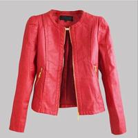Women Leather Jacket PU Leather Short  Sexy jaqueta de couro feminina  Fashion jaqueta couro Colour Black Red Khaki  couro XX529