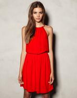 2014 best selling summer dress vestidos  beach dress sleeveless slit neckline dress solid color sexy red midguts