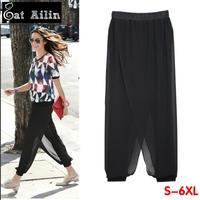 6xl 5xl 4xl 3xl plus size women harem pants women's fashion chiffon casual trousers new 2014 big yards clothes