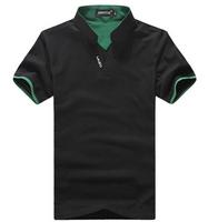New 2014 fashion summer short-sleeve T shirt men's clothing stand collar sim T-shirts cotton shirt 5colors size M-XXXL