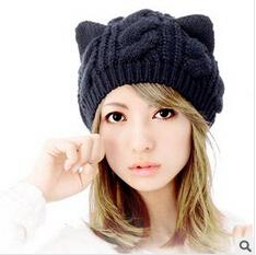 de nieuwe twist baret herfst dames gebreide muts natte kat oor hoed in ...