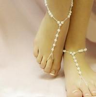 2014 New Japan&Korea Brief Fashion Design Imitation Pearl White Anklets JL019