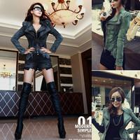 S-XXL 2014 autumn Winter fashion casual jeans women Punk spike studded shrug shoulder Denim cropped bomber vintage jacket coat