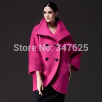 women's winter woollen coat women wool cashmere female coats jackets new 2014 turn-down collar double breasted long sleeve EMS