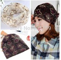 Fashion Women Summer Lace Turban Headwrap Thin Beanie Slouchy Cap Hats Floral Wide Headband Hairband