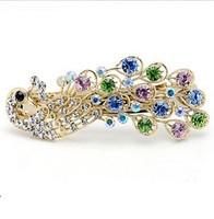 Free shipping Colorful Rhinestones peacock hairpin