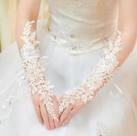 Fingerless White Lace Crystal Rhinestone Bridal Gloves Women Wedding Gloves Accessories 0774