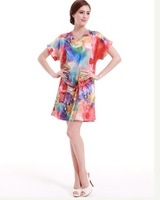 Women's Sleep&Lounge Summer Imilated Silk Satin Nightgowns Print Dresses YT4 High Quality