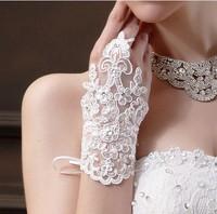Fingerless White Lace Sequins Bridal Gloves Women Wedding Gloves Wedding Accessories 0775