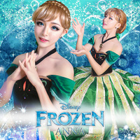Movie Frozen Costume Adult Princess Anna Costume Coronation Outfit Halloween Costumes for Women Anna Cosplay Fancy Frozen Dress