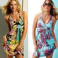 2014 summer dress vestidos  halter-neck huaqun beach dress sexy deep V-neck racerback bikini skirt