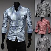 Hot-selling men's shirt classic plaid shirt male long-sleeve shirt fashionable slim shirt free shipping