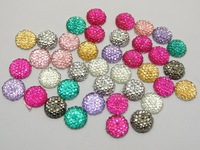 """100 Mixed Color Acrylic Round Flatback Dotted Rhinestone Beads 10mm(3/8"""")"""