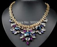 Aliexpress Hot Sale Glass Rhinestone Flower Luxury Designed Women Statement Necklace Fashion Accessories Wholesale Jewelry