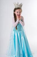 5pcs/lot Elsa Frozen Princess Queen Elsa Gown Dress Up Kids Party Wedding Fancy Cosplay Girl Kids Child Dresses Costume 3-8Y