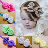 12 Pieces/Lot Newborn Baby Girls Kids Children Bebe Infantil Headbands Headwear Hair Bows Accessories Chiffon Bowknot Photo Prop