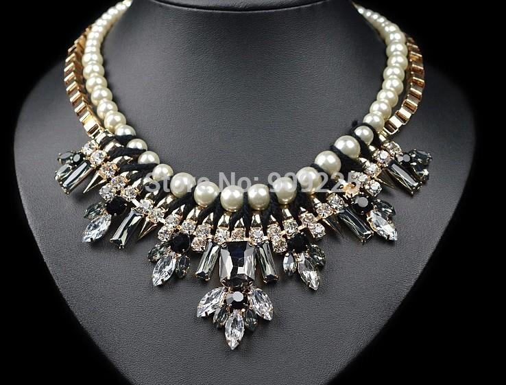 2014 Hot Sale Handmade Luxury Pearl Chain Glass and Rhinestone Women Big Statement Fashion Necklace Wholesale