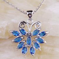 Wholesale Elaborate New Design BlueTopaz  Silver Chain Pendant Necklace Fashion Stone Jewelry  For Women  Free Shipping