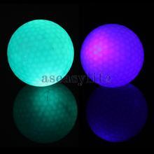 Free shipping Flashing Electronic Golf Balls 2-Pack Night Golfing 1 Blue + 1 Green ASAF(China (Mainland))