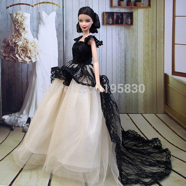 Free Shipping Children Loved Handmade Doll's Vintage Dress Fanshion Skirt For Barbie(China (Mainland))