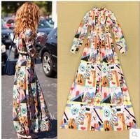 2014 Europe vintage slim maxi dress women print dress high street dress woman long sleeve dress plus size S M L