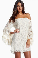 Hot Sexy Women Ladies Lace Floral Dresses Strapless Sleeve Evening Party Club Cocktail Mini Dress