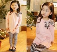 2014  girls apparel spring autumn set bowknot blusa shirts+ striped legging tight pants fashion children dressing clothing sets