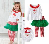 2014 New Arrive Ruffle Girl Outfits Cotton Conjunto de roupa Casual Baby Clothes T shirt Tu Tu pant Christmas Girls Clothing