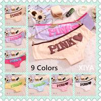 E009 Free Shipping New 6 PCS/lot Pink Heart Print Cotton Women's Panties Sexy Briefs Fitness Girl's Underwear
